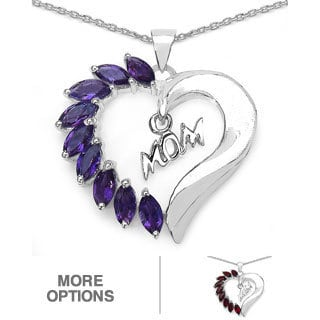 Sterling Silver Gemstone 'Mom' Heart Necklace