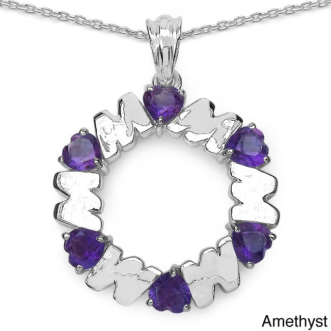 Sterling Silver Gemstone Heart 'Mom' Necklace