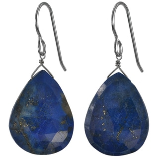 Ashanti Silver Lapis Lazuli Faceted Briolette Earrings (Sri Lanka)