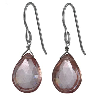 Ashanti Silver Pink Quartz Faceted Briolette Earrings (Sri Lanka)