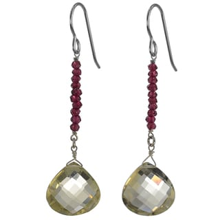 Ashanti Silver Lemon Quartz Faceted Briolette/ Rhodolite Garnet Earrings (Sri Lanka)