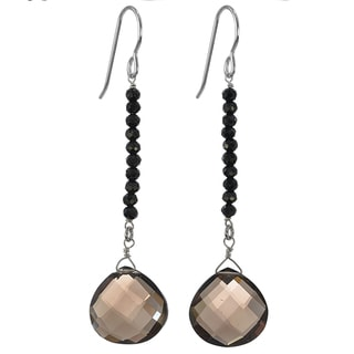 Ashanti Silver Smokey Quartz/ Black Spinel Earrings (Sri Lanka)