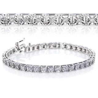 Annello Sterling Silver 1/2ct TDW Square Diamond Bracelet (H-I, I2-I3)