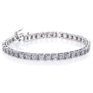 Annello Sterling Silver 1/2ct TDW Square Diamond Bracelet (H-I, I2-I3)