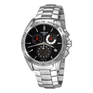 Tissot Men's 'Veloci-t' Stainless-Steel Black Dial Chronograph Watch