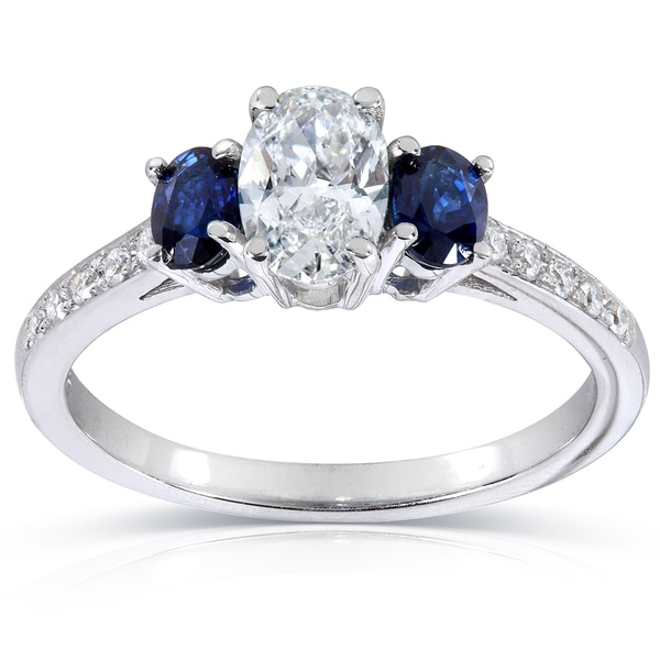 Annello 14k White Gold Sapphire and 5/8ct TDW Diamond Ring (F-G, SI1-SI2)