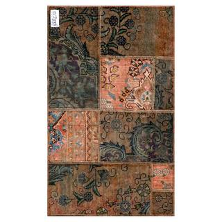 "Pak Persian Traditional Hand-Knotted Patchwork Multicolored Wool Rug (2'5"" x 4')"