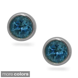 Gioelli Sterling Silver and 14k Gold Blue Topaz or Amethyst Earrings