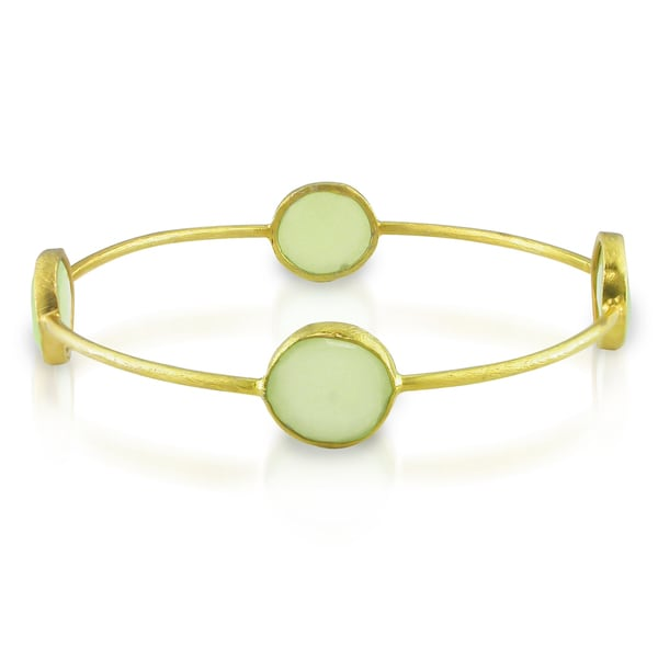 M by Miadora 22k Yellow Goldplated Synthetic Green Chalcedony Bangle
