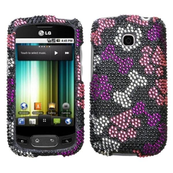 INSTEN Puppy Lover Diamante Phone Case Cover for LG P509 Optimus T