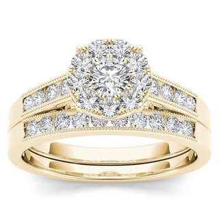 De Couer 10k Yellow Gold 3/4ct TDW Diamond Bridal Ring Set (H-I, I2)