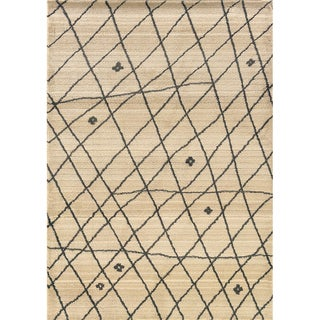 "Old World Tribal Ivory/Brown Polypropylene Area Rug (5'3"" x 7'6"")"