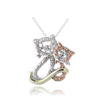 DB Designs Tri-color Sterling Silver Red Diamond Accent Cat Necklace