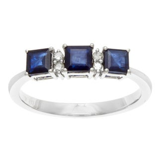 10k White Gold Sapphire and 1/10ct TDW Diamond Ring (G-H, I1-I2)