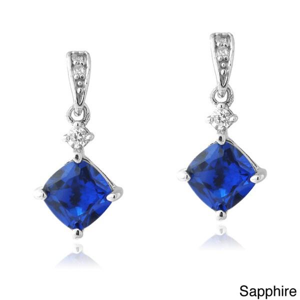 Glitzy Rocks Sterling Silver Gemstone and CZ Diamond-shaped Earrings