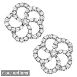 La Preciosa Sterling Silver Pave Cubic Zirconia Earrings
