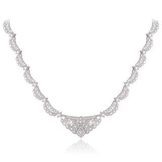 DB Designs Silvertone Diamond Accent Fashion Riviera Necklace