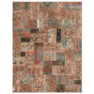 Pak Persian Hand-knotted Patchwork Multi-colored Wool Rug (7'9 x 9'10)