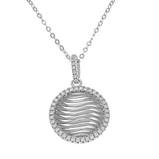 La Preciosa Sterling Silver Pave Cubic Zirconia Circle Necklace