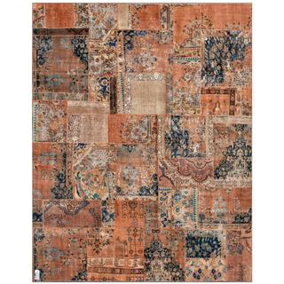 Herat Oriental Pak Persian Hand-Knotted Patchwork Multi-Colored Traditional Wool Rug (7'10 x 9'10)