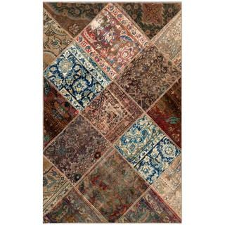 "Pak Persian Hand-Knotted Patchwork Geometric Multicolored Wool Rug (3'10"" x 5'11"")"