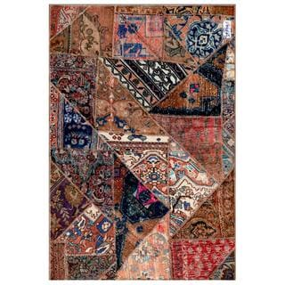 Pak Persian Hand-knotted Patchwork Multi-colored Wool Rug (3'9 x 5'7)