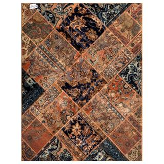 "Pak Persian Hand-Knotted Patchwork Multicolored Wool Area Rug (4'10"" x 6'3"")"