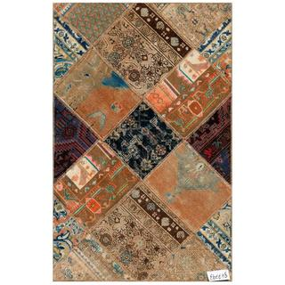 Pak Persian Traditional Hand-Knotted Patchwork Multicolored Wool Rug (3'1 x 4'9)
