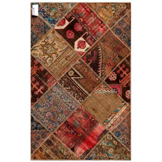 Pak Persian Hand-knotted Patchwork Multi-colored Wool Rug (3'1 x 4'10)