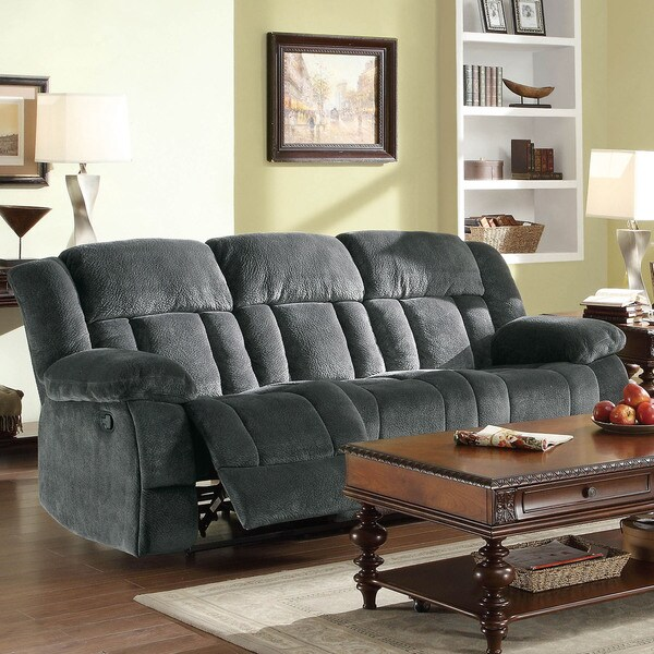 Mason Modern Gray Microfiber Double Reclining Sofa