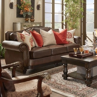 Myles Traditional Chocolate Bonded Leather Rolled Arm Sofa
