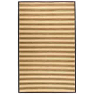 Natural Brown Stripe 5x8 Bamboo Area Rug