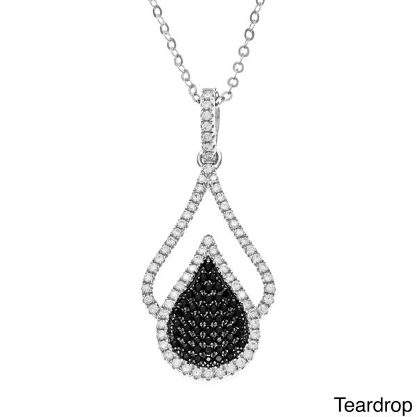La Preciosa Sterling Silver Pave Black/ White Cubic Zirconia Necklace