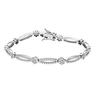 La Preciosa Sterling Silver Pave Cubic Zirconia Link Bracelet