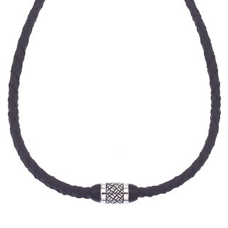 Men's Stainless Steel and Braided Black Leather Necklace