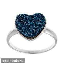 La Preciosa Sterling Silver Druzy Heart Ring