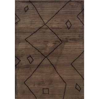 Old World Tribal Brown/ Tan Polypropylene Rug (5'3 x 7'6)