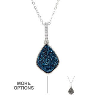 La Preciosa Sterling Silver Druzy and CZ Drop Pendant