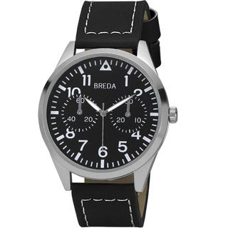 Breda Men's 'Zach' Black Leather Band Watch