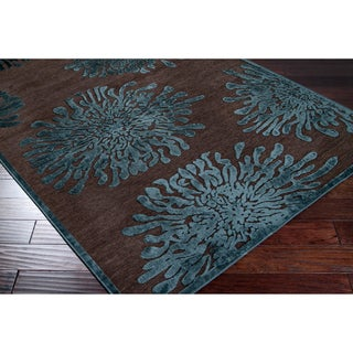 "Woven Contemporary Brown Floral Rug (4' x 5'7"")"