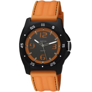 Breda Men's 'Kevin' Orange Silicone Band Watch