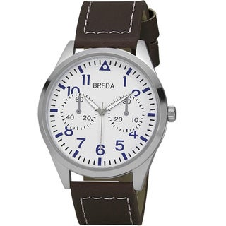 Breda Men's 'Zach' Brown-Leather-Band Quartz Watch