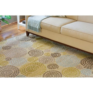 Woven Contemporary Green Geometric Rug 4' x 5'7)