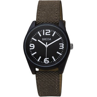 Breda Men's 'Dexter' Bold Bezel Black Canvas Band Watch