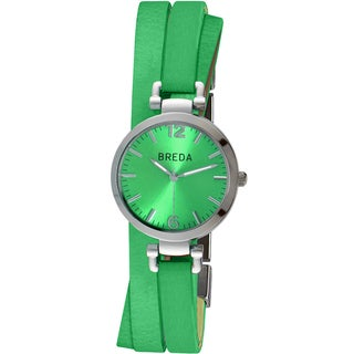 Breda Women's 'Jodie' Green Layered Leather Band Watch