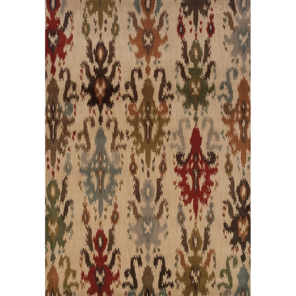 Tribal Ikat Ivory/ Multi Rug