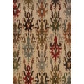 Tribal Ikat Ivory/ Multi Rug (3'10 x 5'5)