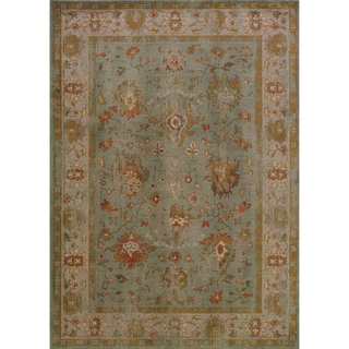 Distressed Oriental Blue/ Grey Rug (3'10 x 5'5)