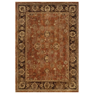 Distressed Oriental Orange/ Brown Rug (3'10 x 5'5)