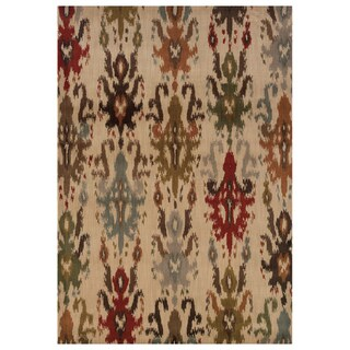 Tribal Ikat Ivory/ Multi Rug (5'3 x 7'6)
